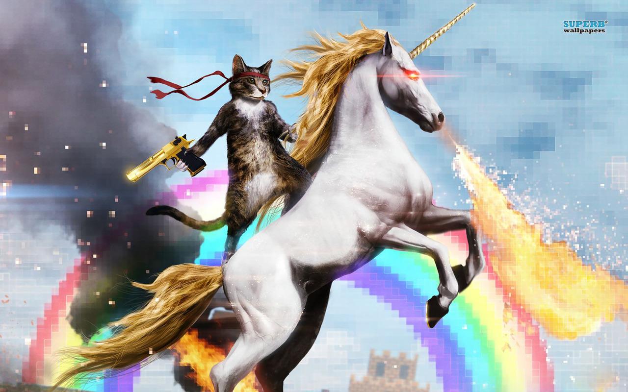 Cat Riding A Fire Breathing Unicorn 16414 1280x800