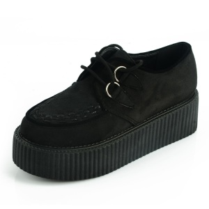 LADIES-LACE-UP-FLAT-DOUBLE-PLATFORM-WOMENS-GOTH-CREEPERS-PUNK-WEDGE-SHOES-FREE-SHIPPING
